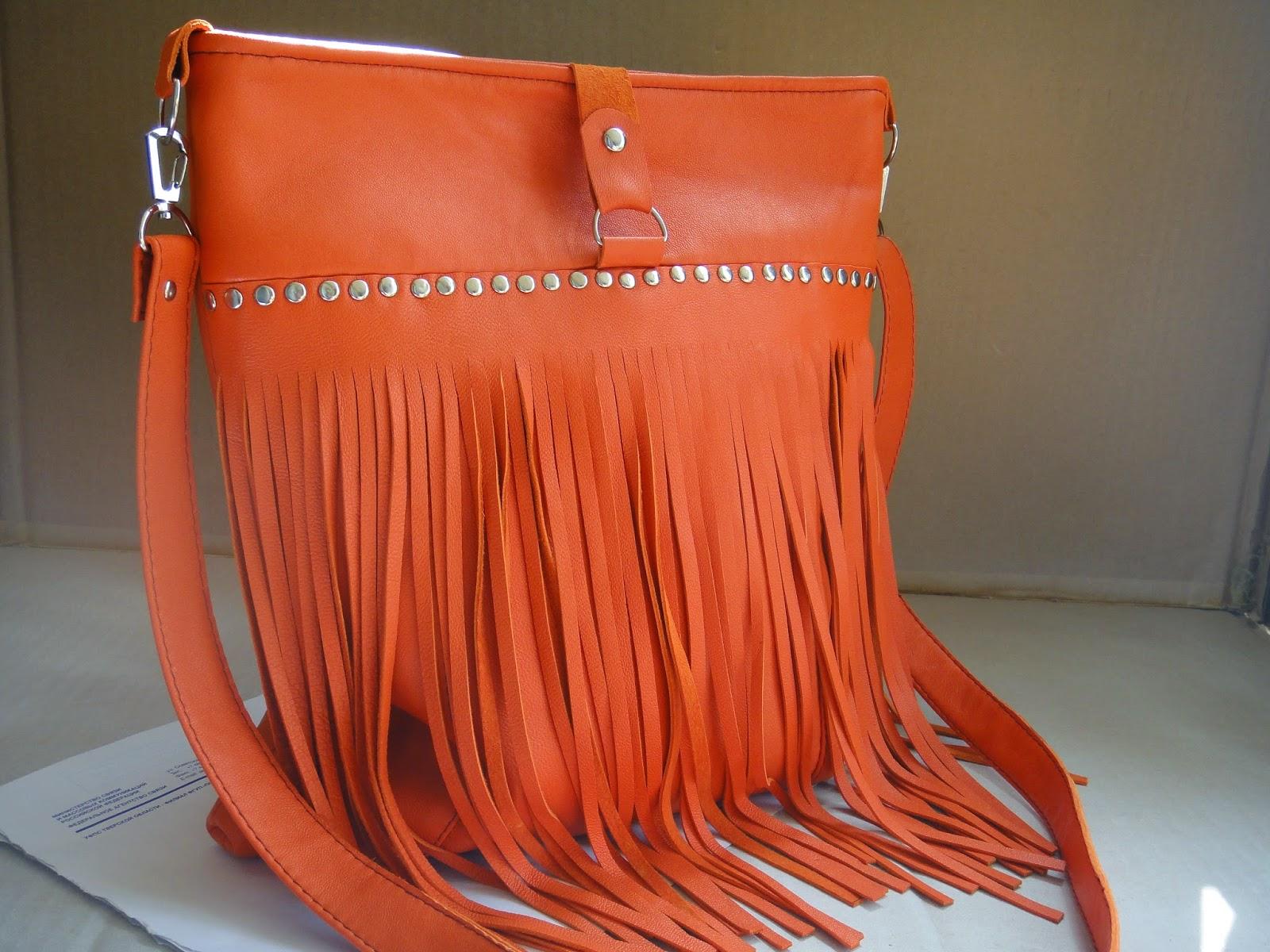 сумка хобо из рыжей кожи