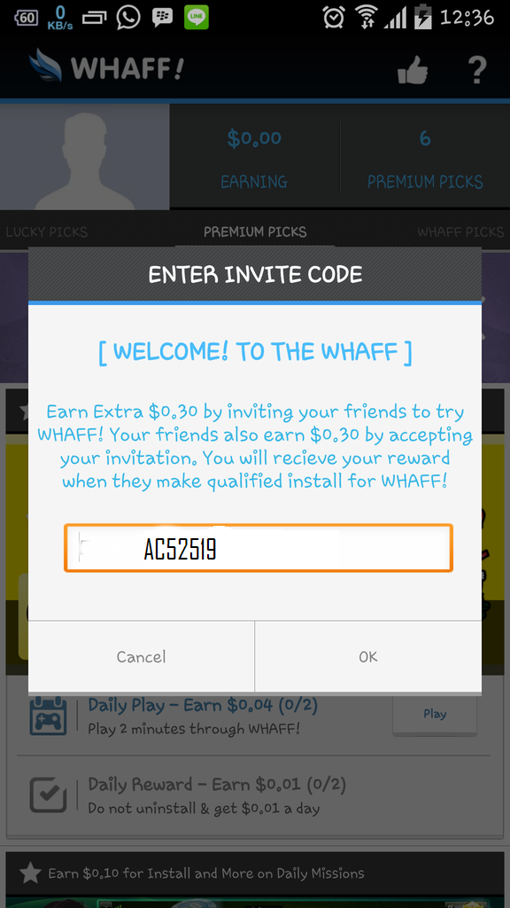invitar código tufillo whaff