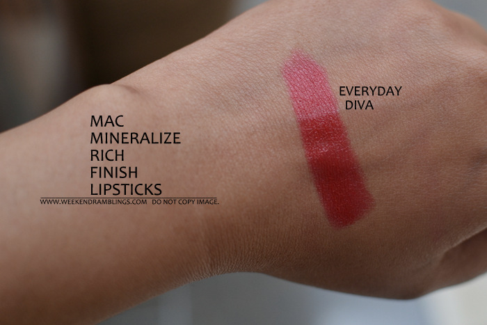 MAC Mineralize Rich Lipsticks New Makeup Collection Indian Beauty Blog Darker Skin Swatches Everyday Diva