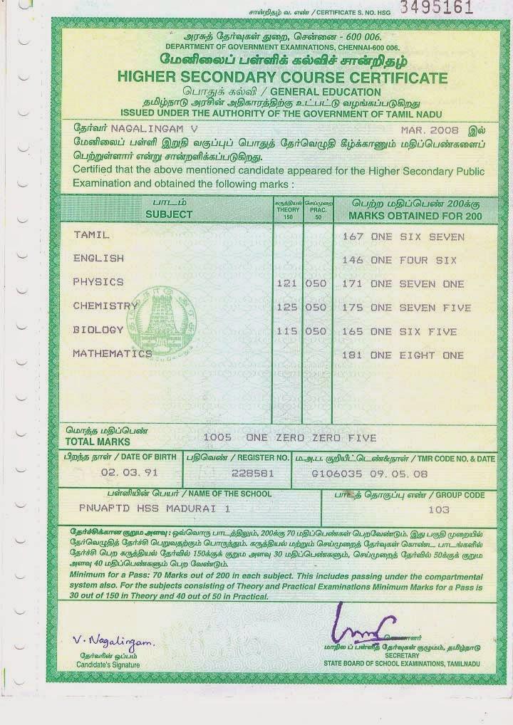 Tamilnadu 12th marksheet 2015