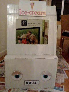 Ice-Cream Van made from a cardboard box.