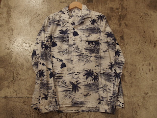 engineered garments classic shirt in white with navy surf print