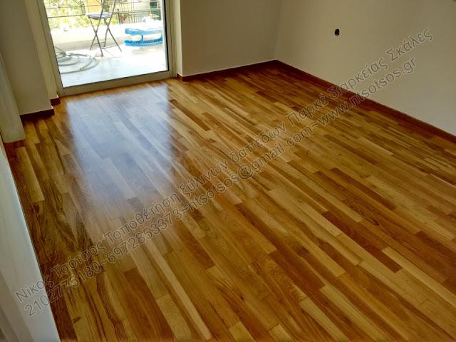 Συντήρηση ξύλινου δαπέδου με σατινέ βερνίκι
