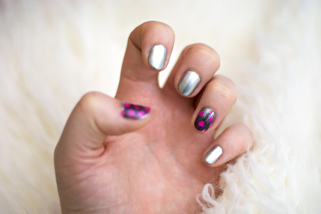feather manicure pink black silver