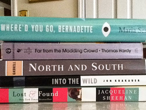 Book Spine Poem:  Where'd You Go Bernadette/Far From the Madding Crowd/North and Sound/Into the Wild/Lost and Found