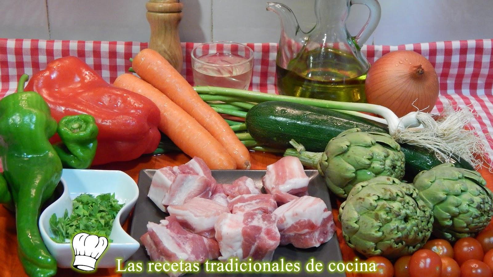Receta de costillas de cerdo con verduras