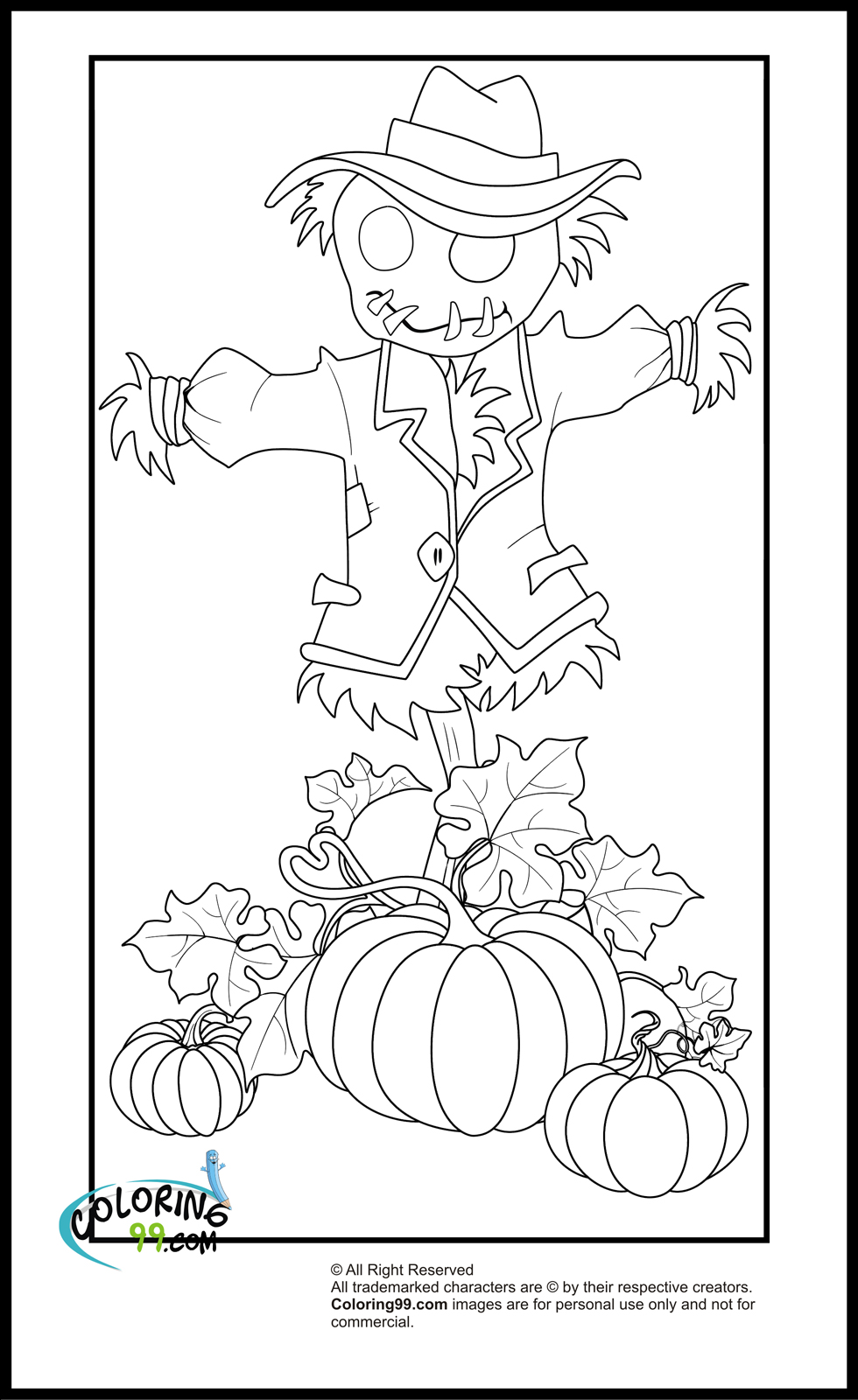 Pumpkin scarecrow coloring pages