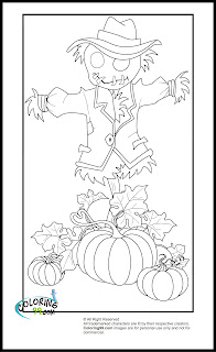 pumpkin and scarecrow coloring pages