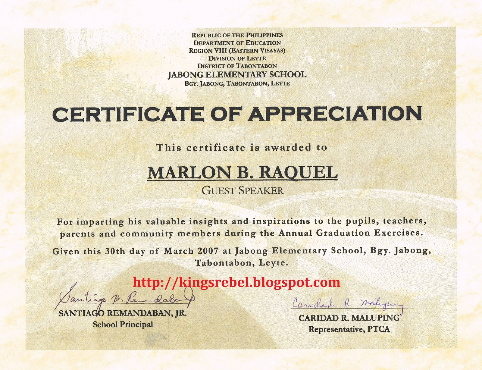 Examples of Certificate of Appreciation http://kingsrebel.blogspot.com/2011/02/example-of-certificate-of-appreciation_17.html