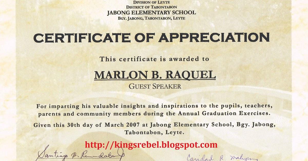 ... Back > Images For > Certificate Of Appreciation For Speakers Sample
