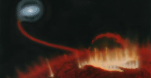 Artist's impression of a giant flare on the surface of red giant Mira A. Behind the star, material is falling onto the star's tiny companion Mira B. Credit: Katja Lindblom, CC BY-NC-ND 4.0