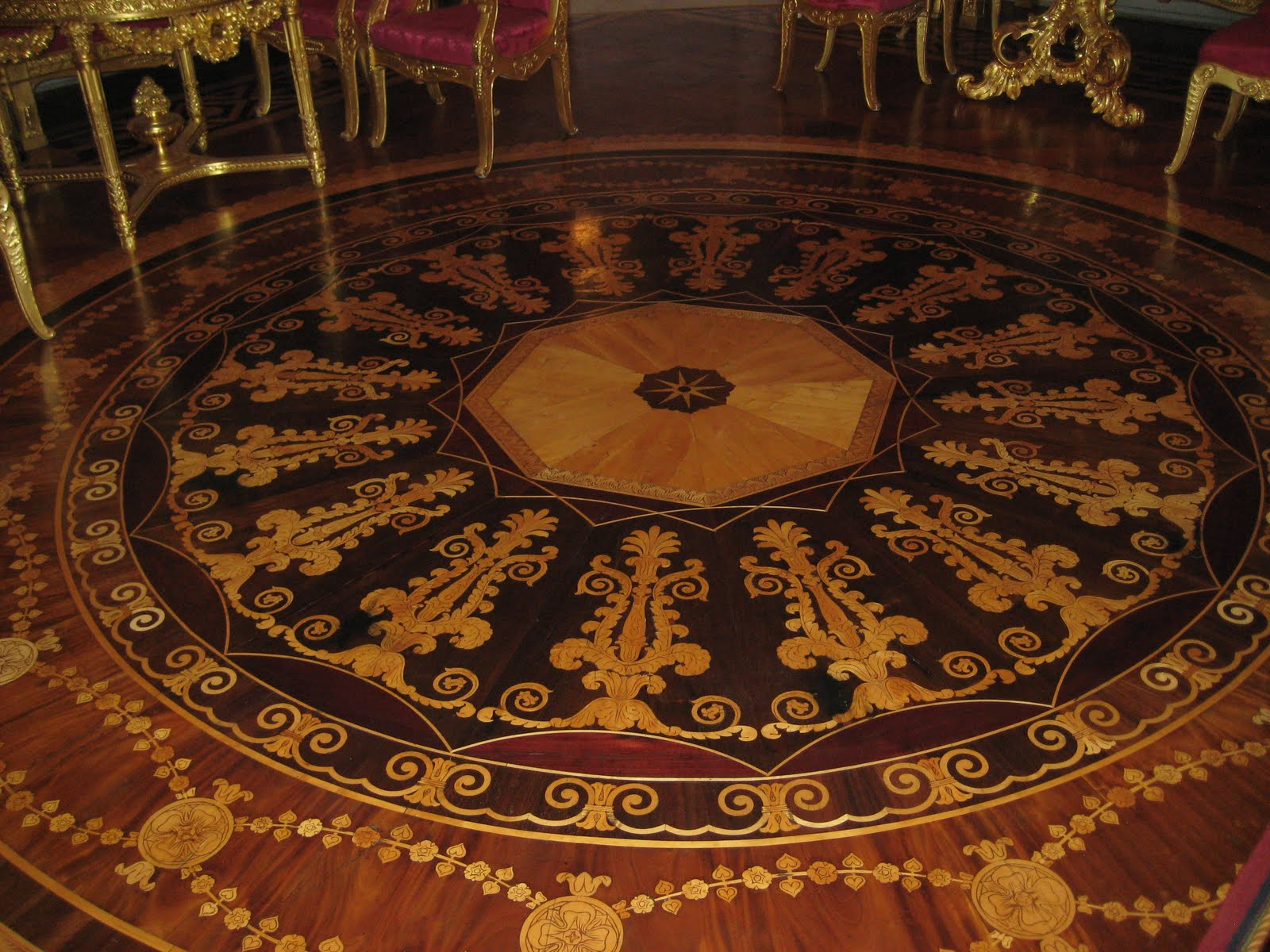 Parquet Flooring. Hardwood Floor Border & Medallion Inlays.