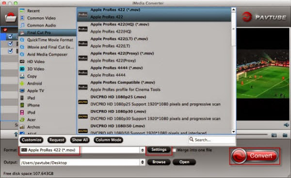 video codec for editing in FCP