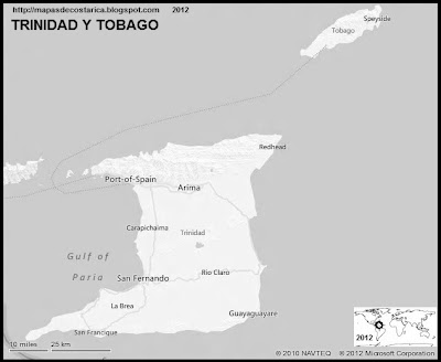 TRINIDAD Y TOBAGO, Mapa de TRINIDAD Y TOBAGO, blanco y negro 