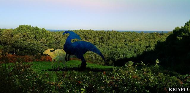 dos dinosaurios en ladera de guadalupe en hondarribia