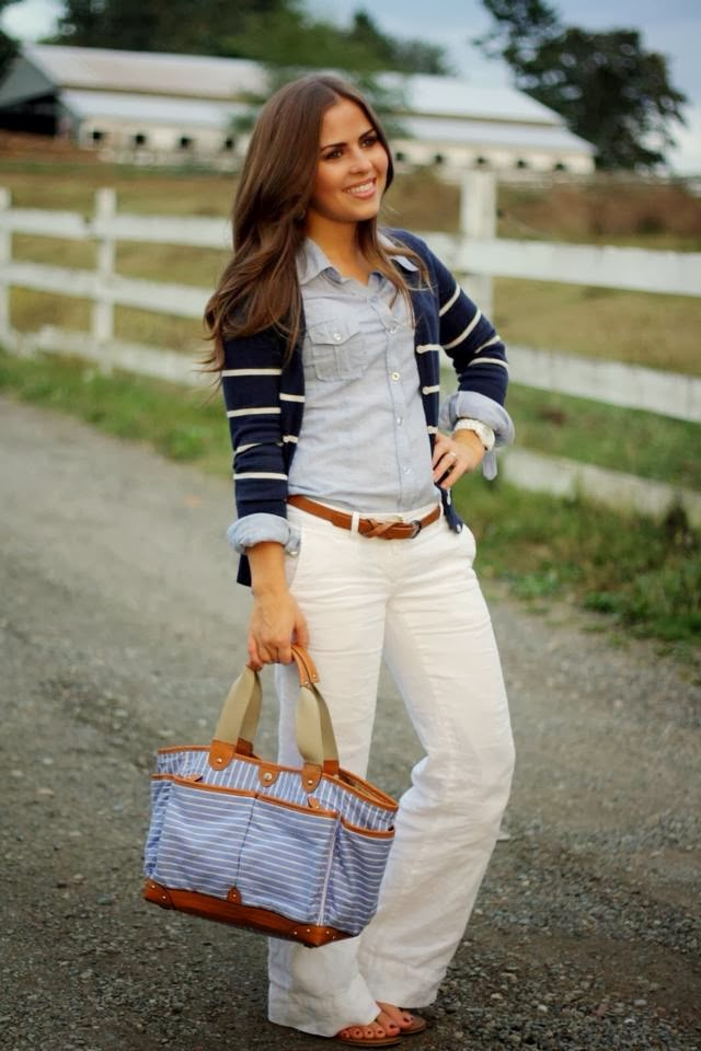 Adorable Street Style - White Pant, Jeans Shirt, Blue & White Jacket, Suitable Handbag and Belt