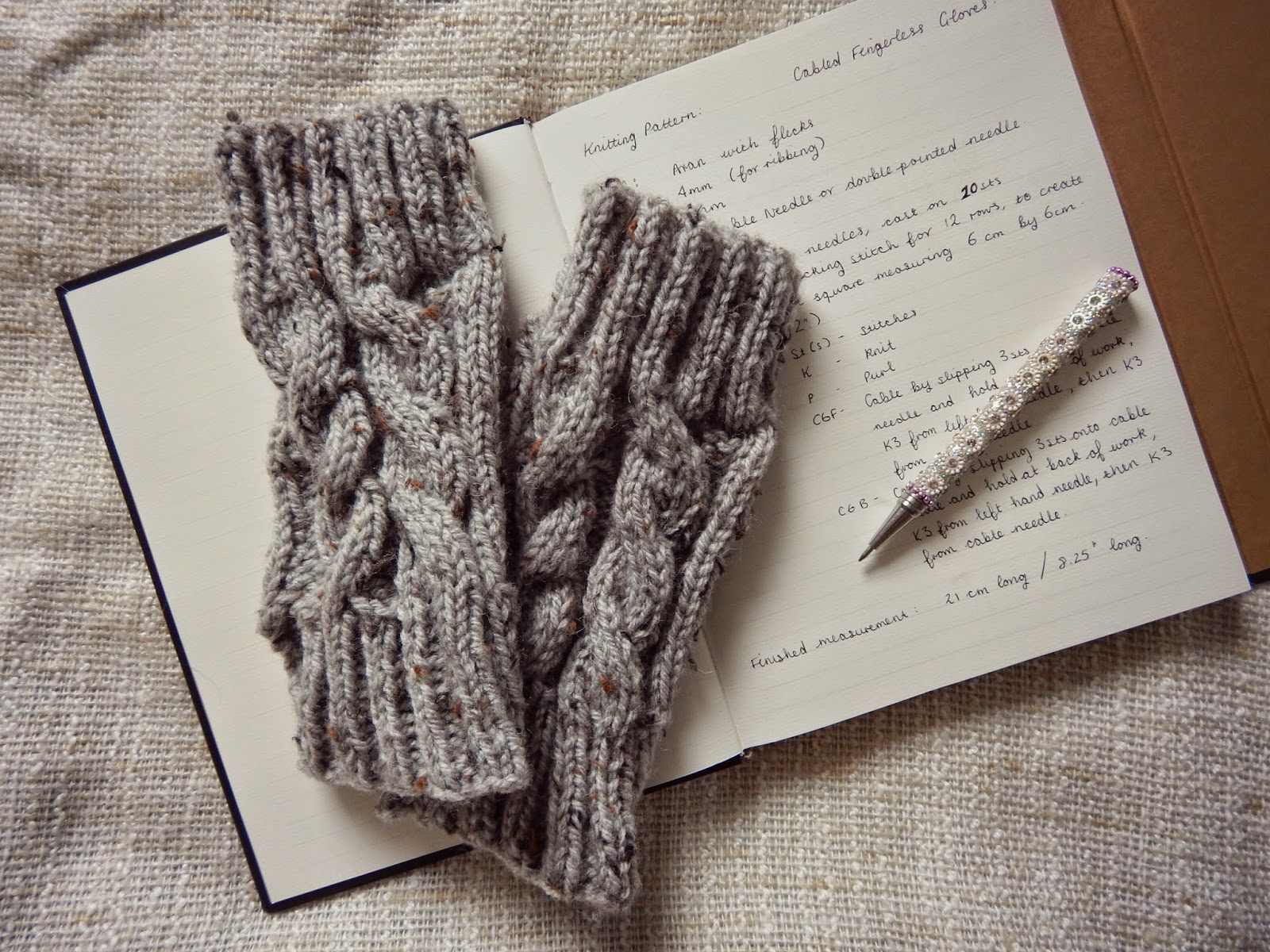 Knitting Pattern: Cabled Fingerless Gloves