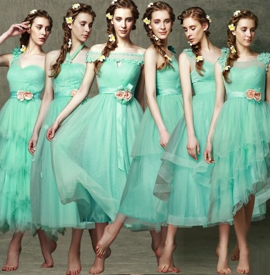 6-Design Facinating Turquoise Tutu Lace Past Calf Length Bridesmaids Dress