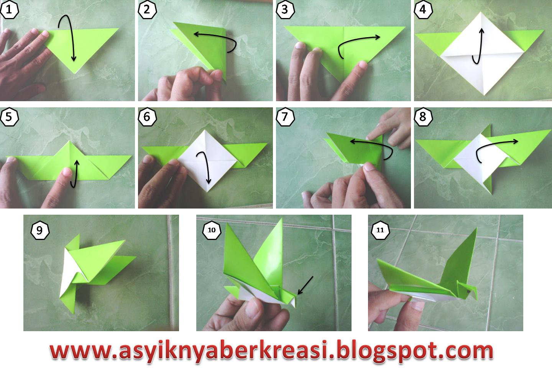 membuat burung dari kertas origami