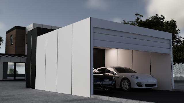 Garaje modular cerrado con trastero - Resan