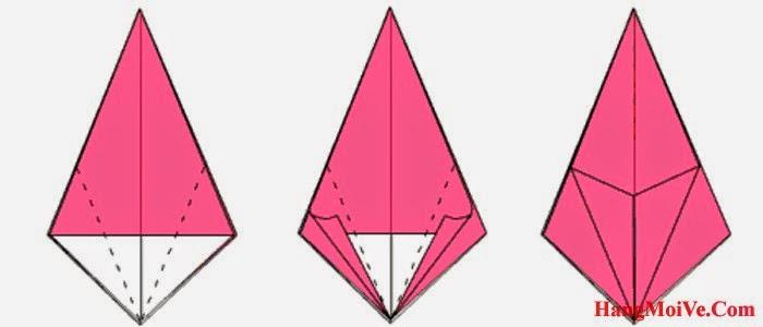 Bước 10: Gấp hai mép giấy hai bên của hình 1 lại theo chiều từ ngoài vào trong (hình 2) ta sẽ được như hình 3. Sau đó lại mở ra để tạo thành các nếp gấp.