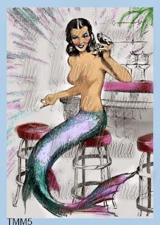 martini mermaid fabric blocks by vintagemermaidsfabricblocks.com