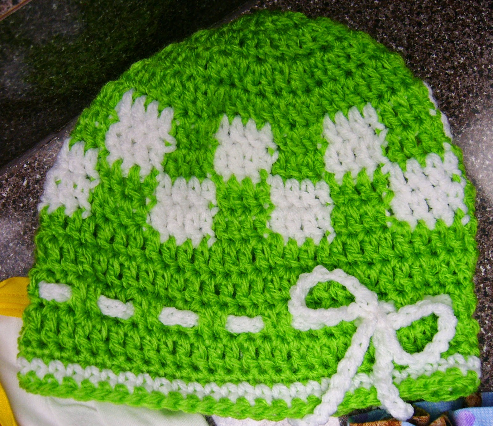 Operation Christmas Child Teddy Bear Shoe box checked crochet hat