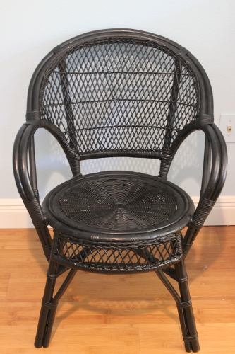 Black painted wicker chairs