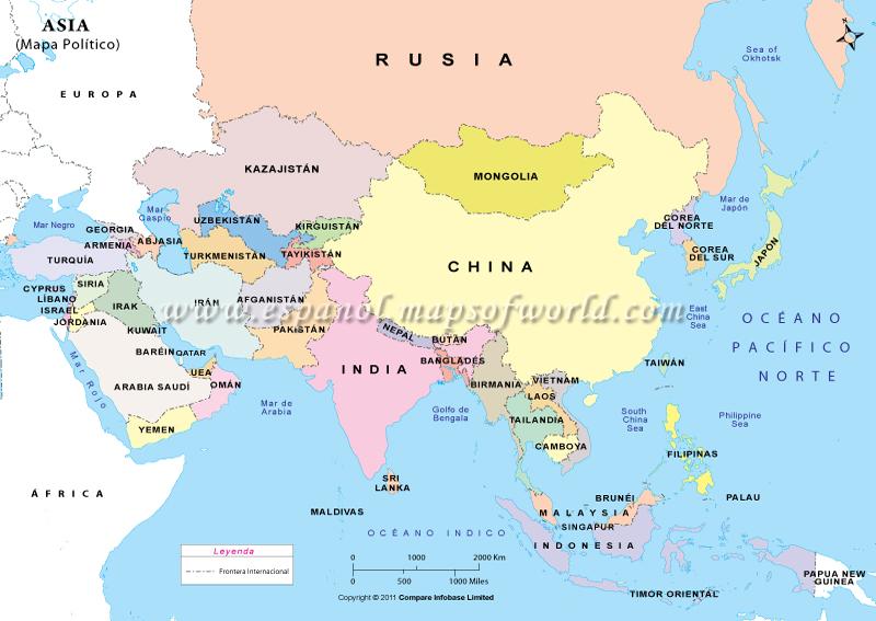 el continente asiatico y los paises que se encuentran en el con