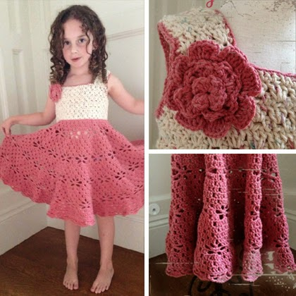 Crochet Patterns Little Girl Dresses : Crochet For Children: Little Girl Vintage Dress Free Pattern