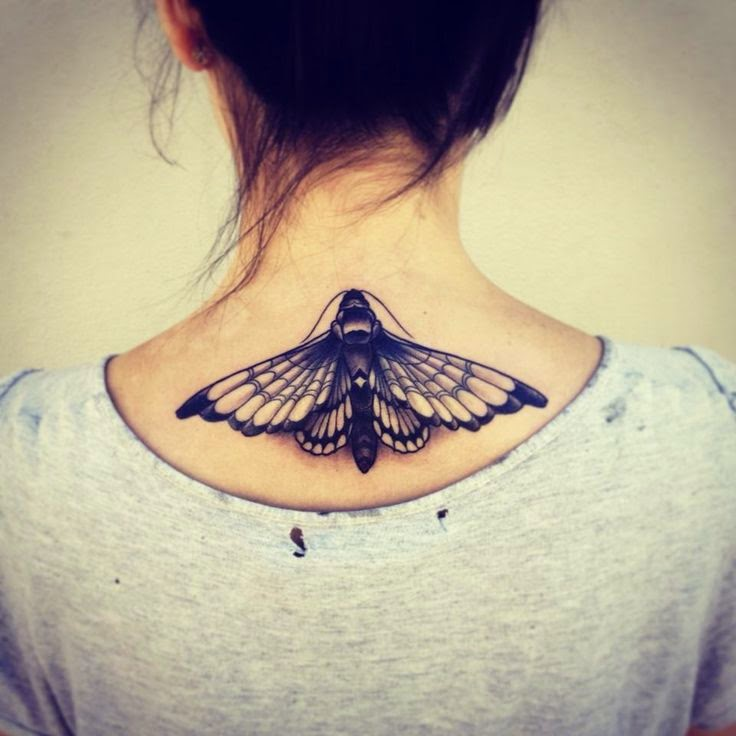 3d black ink moth tattoo on back