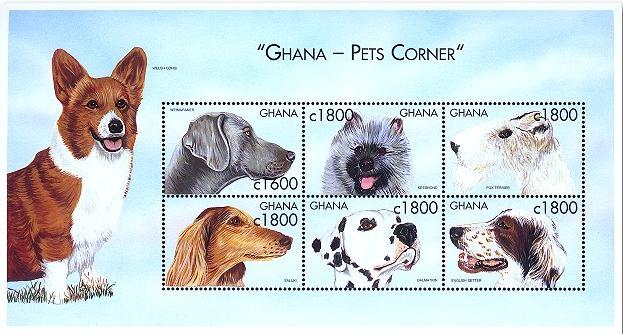 2000年ガーナ共和国 ワイマラナー キースホンド フォックス・テリア サルーキ ダルメシアン イングリッシュ・セターの切手シート