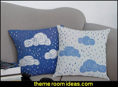 Rainy Day Clouds Throw Pillows