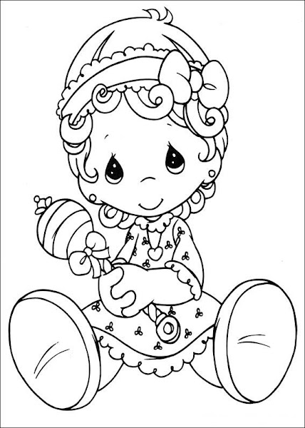 baby girl precious moments coloring pages