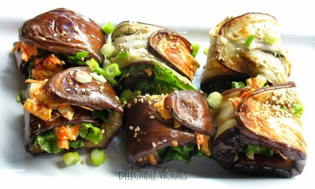 eggplant roll ups vegetarian tahini dressing