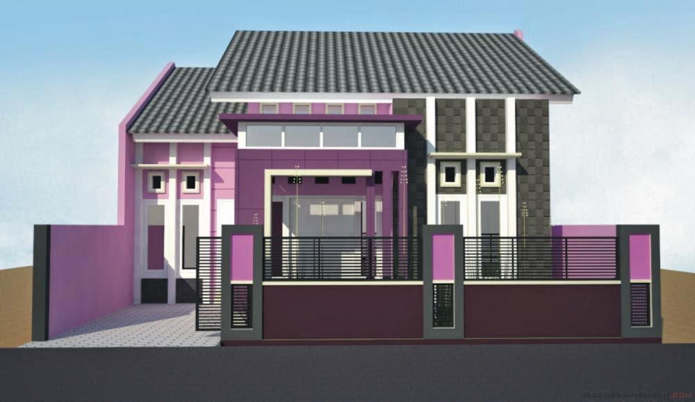 Cat rumah minimalis lantai 1 warna pink