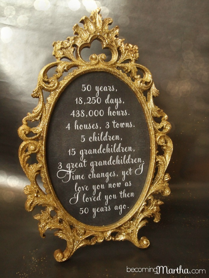 Gold and glittered frame and print 50th anniversary for 50th birthday decoration ideas