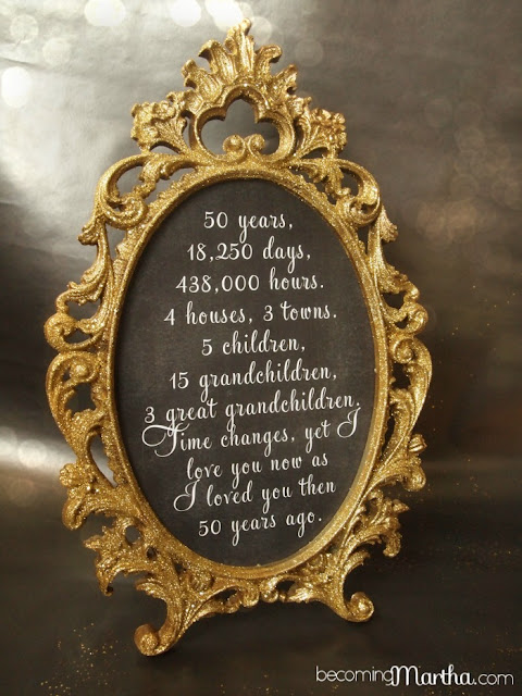 Gold and glittered frame and print 50th anniversary for 50 anniversary decoration