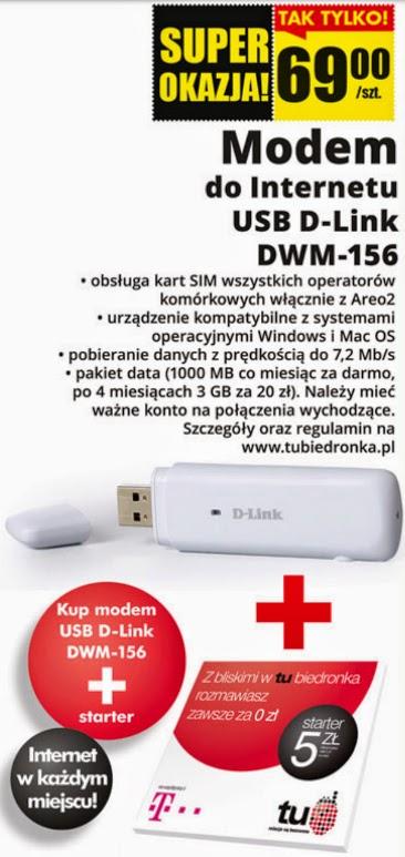 Modem do Internetu USB D-Link DWM-156 z Biedronki ulotka