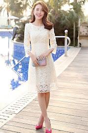 Gray/Red/Cream Three Quarter Flower Lace Flare Dress