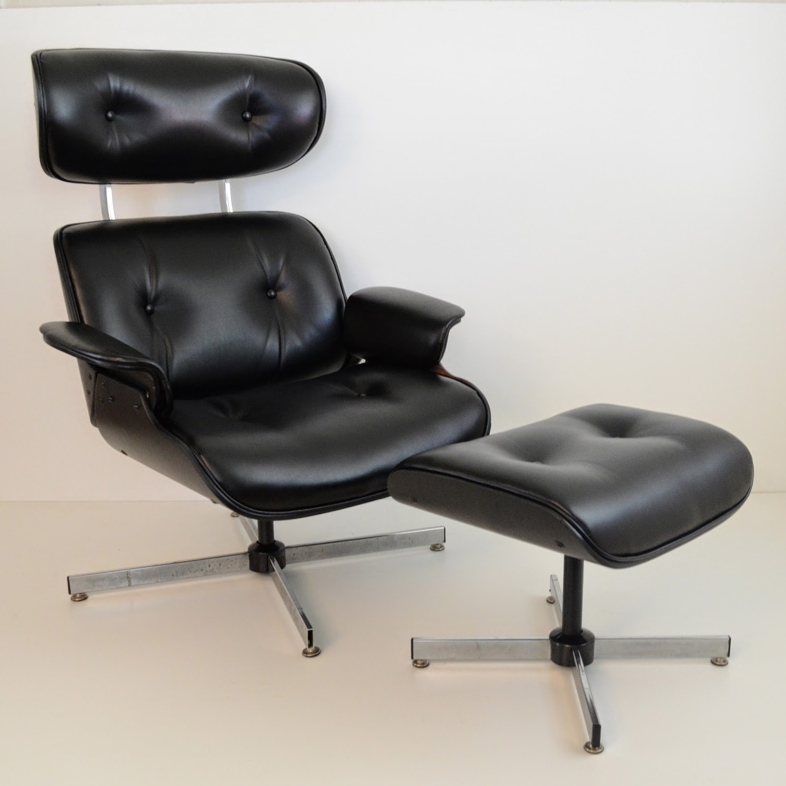 Remnant Eames Style Lounge Chair & Ottoman Black on Black