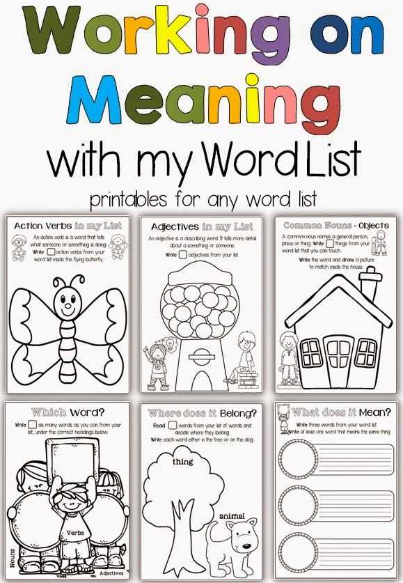 Working on Meaning Printables for any Word List Clever Classroom