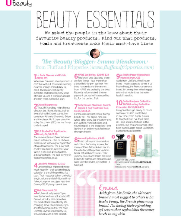 Emma Henderson Beauty Favourites Article, U Magazine