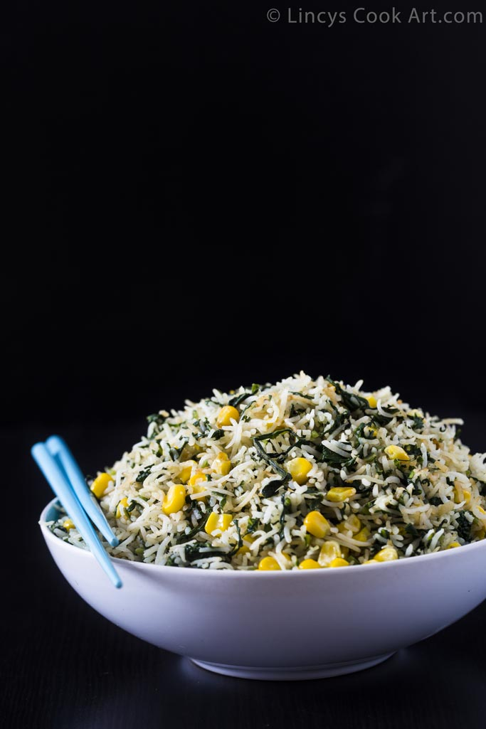 Sweetcorn Spinach Fried Rice