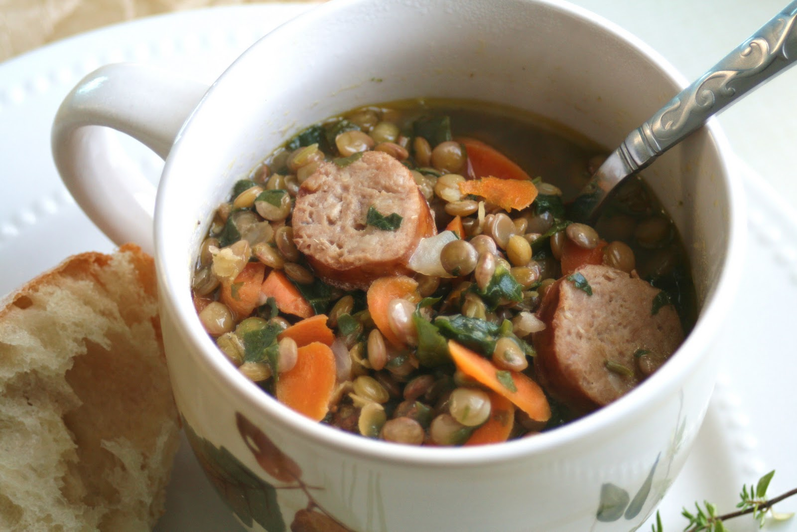 I Thee Cook: Lentil Stew with Sausage and Spinach