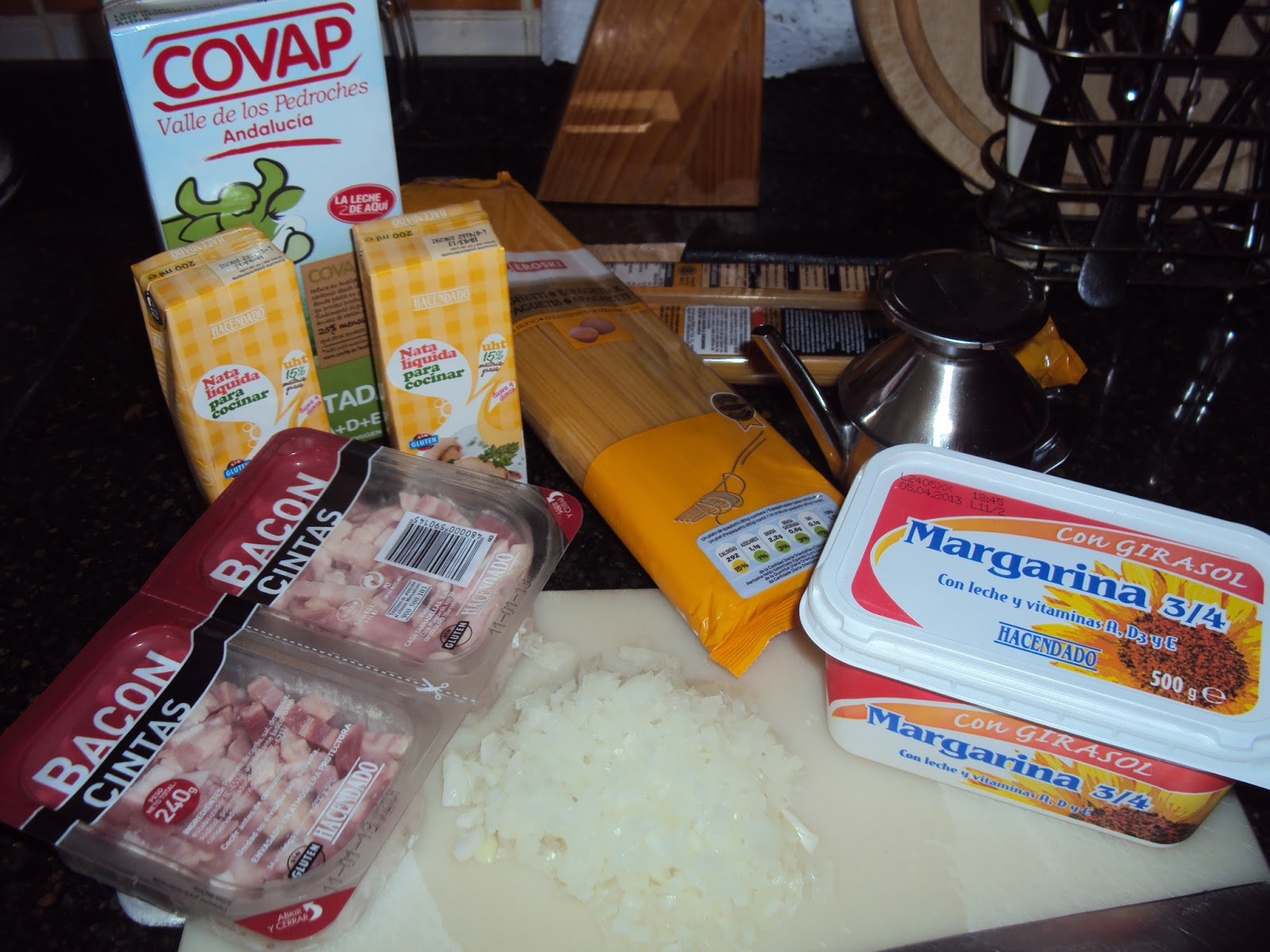 Espaguetis carbonara con nata a cocinear recetas for Ingredientes para cocinar