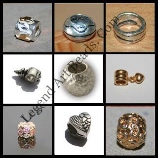 Nice Silver Design Large Hole Beads
