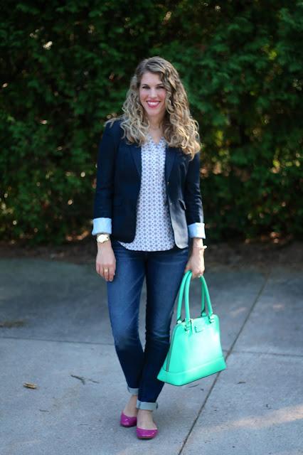 printed blouse, navy blazer, jeans, pink Tory Burch flats, mint Kate Spade bag