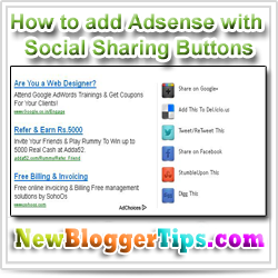 Add Social Bookmarking Buttons Beside Adsense Ad Unit In Blogger