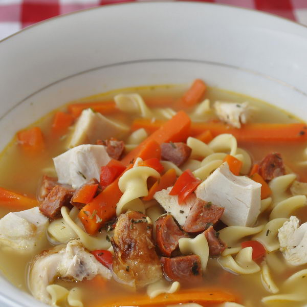Chorizo Rotisserie Chicken Noodle Soup
